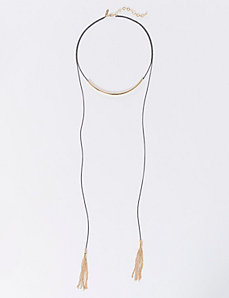 Short Curved Bar Necklace with Tassels