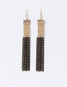 Two-Tone Chain Fringe Earrings