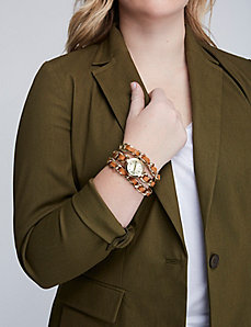 Faux Leather Link Wrap Watch
