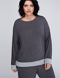 Brushed Jersey Long-Sleeve Sleep Top with Grosgrain Ribbon