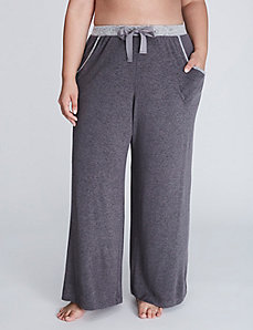 Brushed Jersey Wide Leg Sleep Pant with Grosgrain Ribbon Ties