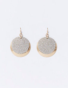 Silver Dust Circle Drop Earrings