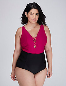 Criss-Cross Deep V Swim One-Piece with Built-In No-Wire Bra