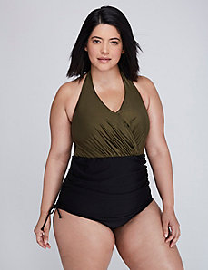 Shimmer Swim One-Piece with Adjustable Skirt & Built-In No-Wire Bra