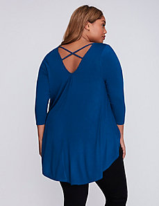 Strappy-Back Top with Rounded Hem