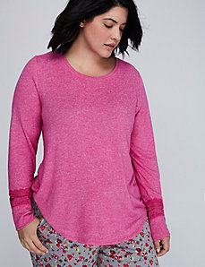 Brushed Jersey Long-Sleeve Sleep Top with Lace Trim
