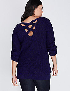 Marled Sweater with Lace-Up Back