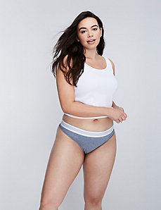 Sassy Cotton Thong Panty with Striped Waistband