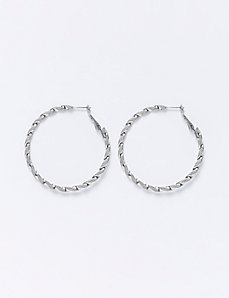 Medium Textured Twist Hoop Earrings