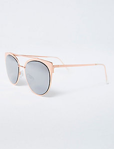Goldtone Metal Sunglasses with Brow Bar
