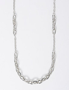 Long Silvertone Link Necklace
