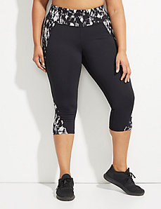 Wicking Active Capri Legging with Printed Insets