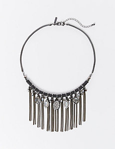 Short Fringe Necklace with Stones & Beads