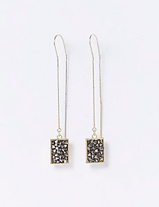 Square Rock Glitter Pull-Through Earrings