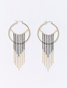 Hoop Earrings with 2-Tone Fringe