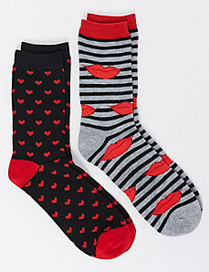 Lips & Hearts Crew Socks 2-Pack