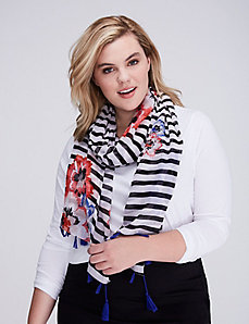 Striped Floral Oblong Scarf