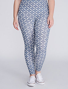 Blue & White Diamond Printed Legging