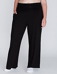 Wide Leg Active Pant with Foldover Waistband