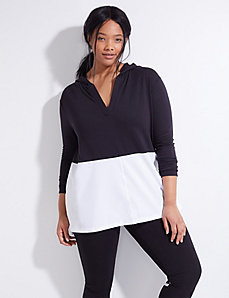 Spa & Woven Active Tunic Hoodie