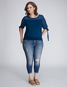 Mixed-Fabric Top with Tie Sleeves