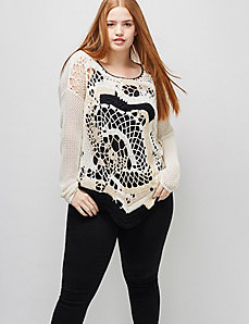 6th & Lane Abstract Crochet Sweater