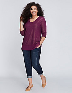 Mixed Fabric Shimmer Top