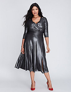 Foil Jersey Faux Wrap Dress with Cutout Details