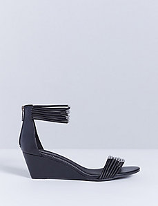 Stretch Ankle-Strap Wedge Sandal