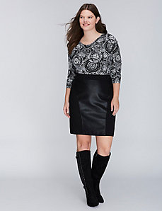 Mixed-Fabric Ponte Pencil Skirt