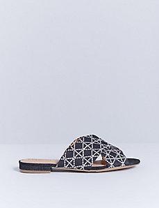 Embroidered X-Band Slide Sandal