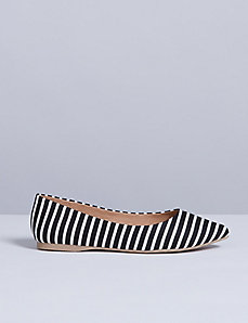 Striped Pointed-Toe Flat