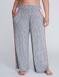 Marled Wide Leg Sleep Pant with Contrast Piping