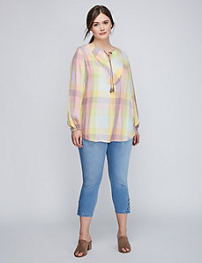 Tie-Front Plaid Shirt by Melissa McCarthy Seven7
