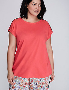 Cotton Sleep Tee with Lace Trim