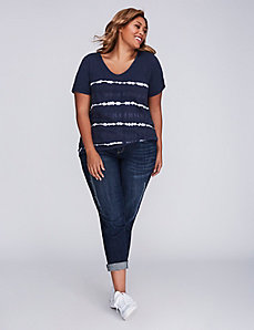 Striped Tie-Dye Ruched V-Neck Tee