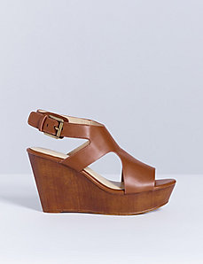 Wedge Sandal with Faux Wood Finish