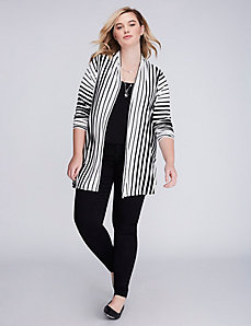 Striped Draped Cardigan