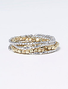 5-Row Metal Bead Stretch Bracelet Set