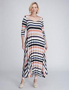 Striped Sharkbite-Hem Maxi Dress