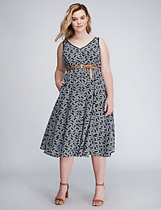 Printed Fit & Flare Dress