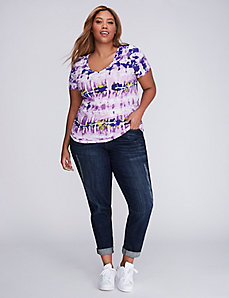 Multi-Color Tie-Dye Ruched V-Neck Tee