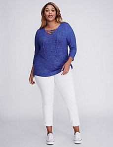 Lace-Up Brushed Hacci Top
