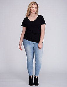 Side Shirred V-Neck Tee
