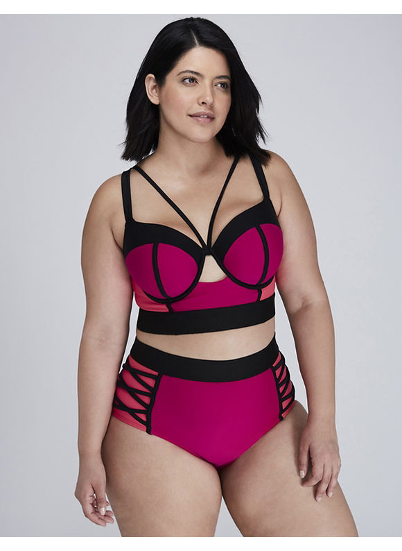 6640571229 Plus Size Swimwear 4 You  New Lane Bryant Color Block and Criss ...