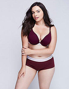 Cotton Push-Up Plunge Bra with Striped Band