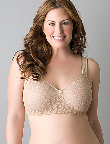 Full figure lace no-wire bra