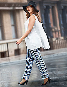 Lena striped stretch linen trouser