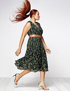 Pleated camo dress