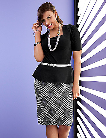 Ponte knit argyle skirt
